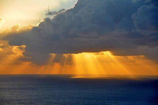 Sea, Sunset, Afterglow, Lefkada Island, Greece