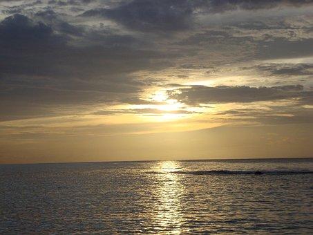 Jamaica, Beach, Sunset, Runaway Bay, Travel, Water