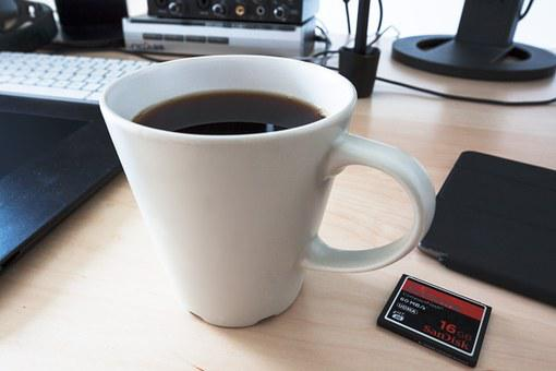 Coffee, Cup, Workplace, Memory Card