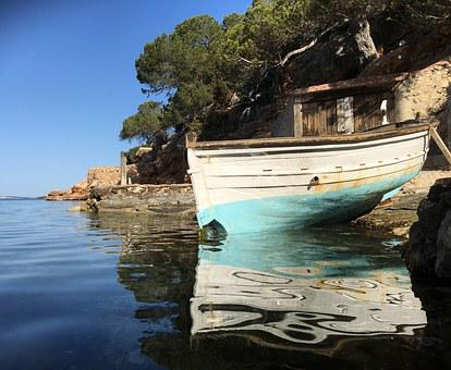Little Boat, Beach, Ibiza, Rocks, Water, Nature, Coast