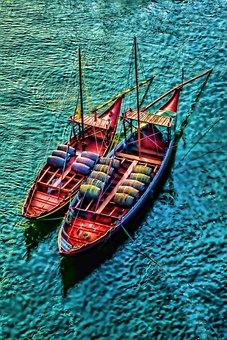 River, Porto, Boats, Portugal, Fishing, Boat, Anchor