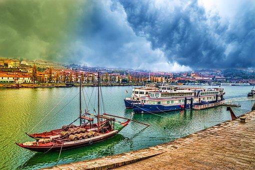 Boats, Colorful, Water, River, Barrel, Porto