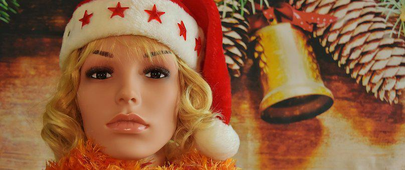 Woman, Pretty, Christmas, Santa Hat, Face, Young