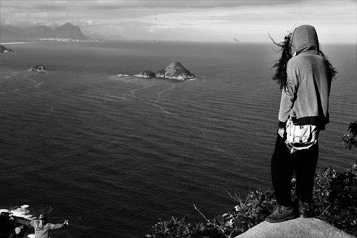 Landscape, Traveler, Beach, Mar, Sol, Beira Mar, Rocks