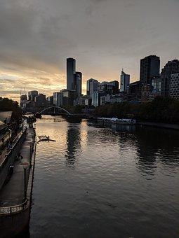Buildings, River, Boat, Coast, Shore, Skyline