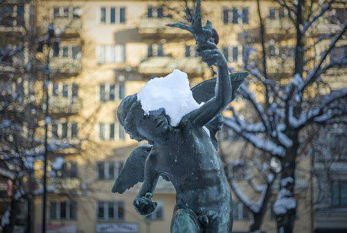 Statue, Snow, Ice, Frost, Facade, House, Trees, City