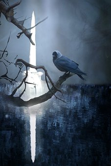 Bird, Sword, Fantasy, King Arthur, Excalibur, Weapon