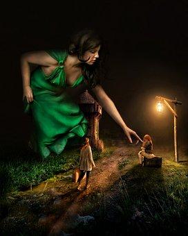 Fantasi, Dongeng, Mimpi, Gadis, Gadis Besar, Raksasa
