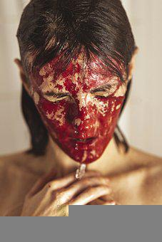 Woman, Blood, Wet, Girl, Young Woman, Emotions, Face