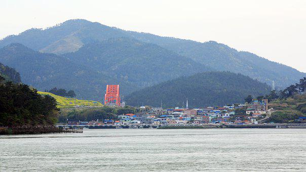 Sea, Sacheon Bridge, Village, Houses, Coast, Shore