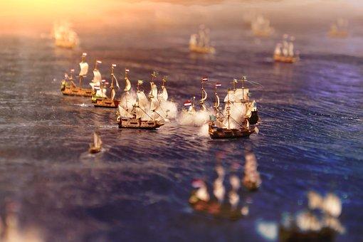 Naval Battle, Lake, Sea, Miniature, Macro, Water, Ship