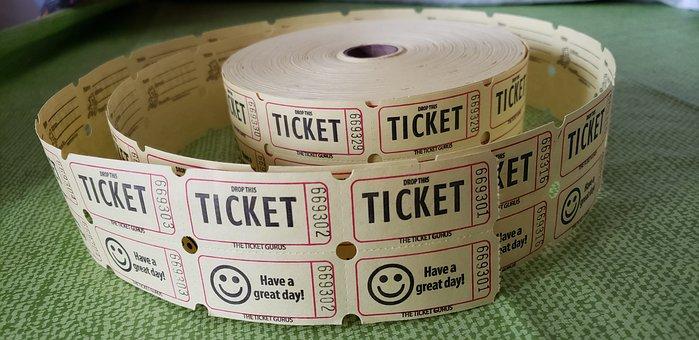 Raffle, Ticket, Admit, Roll, Raffle Ticket, Win, Prize