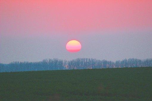 Sunrise, Sun, Trees, Field, View, Sky, Colorful