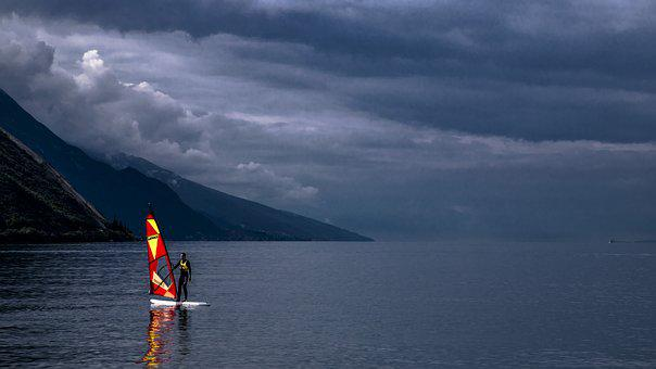 Lake, Surf, Wind Surfing, Water Sports, Leisure