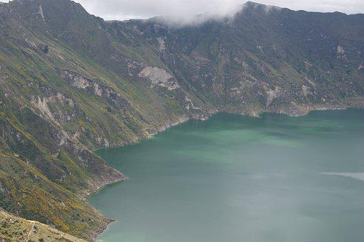 Lake, Volcano, Mountain, Water, Andes, America