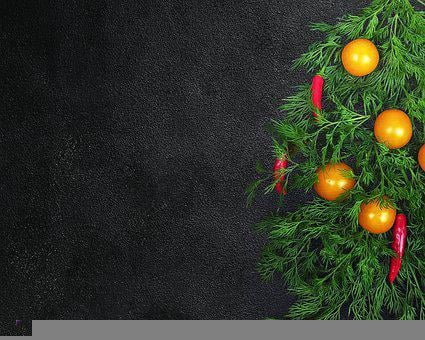 Christmas Tree, Food, Vegetables, Dill, Cherry Tomatoes
