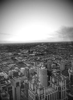 Chicago, City, Skyline, Panorama, Cityscape, Buildings