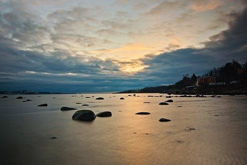 Sea, Rocks, Twilight, Coast, Stones, Ocean, Water