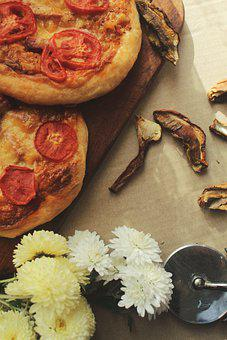 Pizza, Flowers, Tomatoes, Mushrooms, Supper, Cooking
