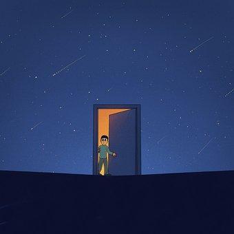 Man, Door, Stars, Surreal, Cartoon, Painting