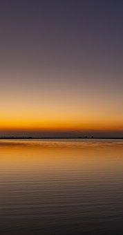 Sunset, Lake, Horizon, Dusk, Twilight, Afterglow