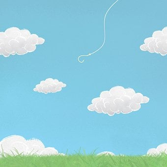 Clouds, Grass, Hook, Fishing Rod, Cartoon, Painting