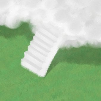 Stairs, Staircase, Grass, Garden, Cloud, Surreal