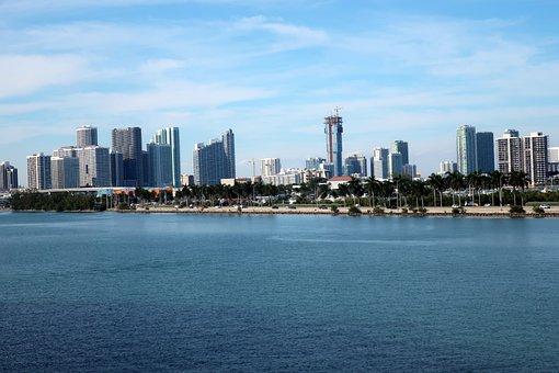 City, Sea, Buildings, Island, Skyline, Skyscrapers