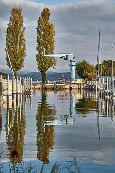 Boats, Port, Crane, Lake, Lake Constance, Mirroring