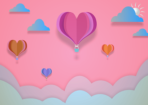 Hot Air Balloons, Clouds, Sky, Heart, Love, Sun