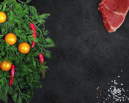 Christmas Tree, Food, Vegetables, Meat, Beef, Steak
