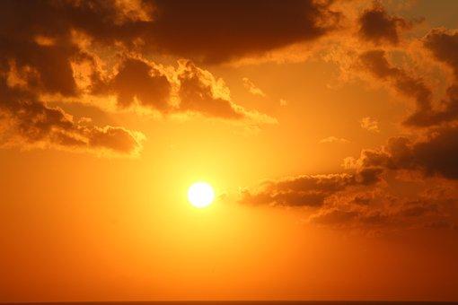 Sun, Clouds, Sky, Sunrise, Orange, Nature, Panorama