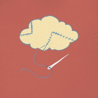 Cloud, Stitches, Needle, Thread, Painting, Surreal