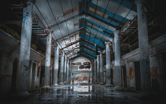 Abandoned, Building, Interior, Pillars, Columns, Shabby