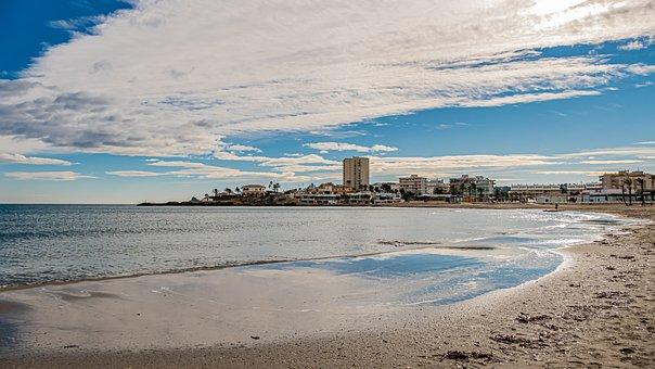 Beach, Sand, Sky, Blue, Cloud, Costa, Holiday, Sea