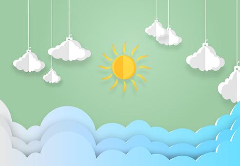 Clouds, Sun, Sky, Paper, Sunlight, Day, Sunny, Nature