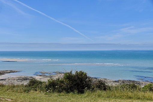 Beach, Ocean, Sea, Shore, Seascape, Donville-les-bains