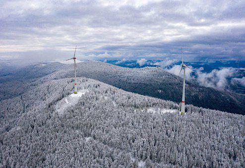 Snow, Black Forest, Winter, Wind Power Plants