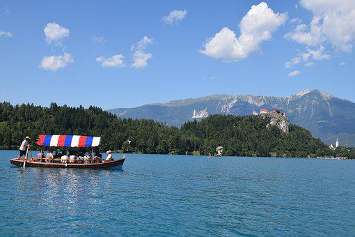 Slovenia, Bled, Lake, Mountains, Castle, Boat
