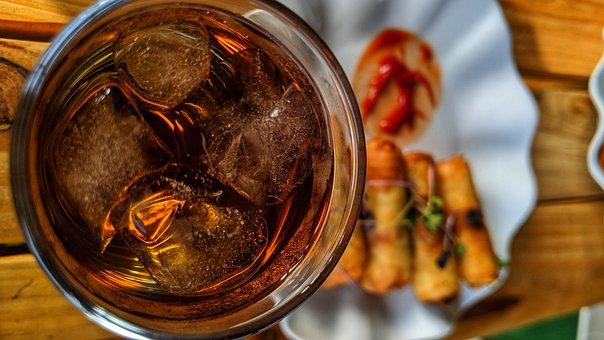 Glass, Ice, Drink, Spring Role, Wood, Breakfast, Tea