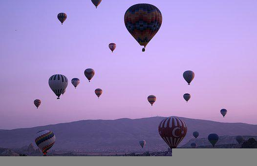Hotairbaloons, Pink, Dusk, Purple, Fly, Sky, Landscape