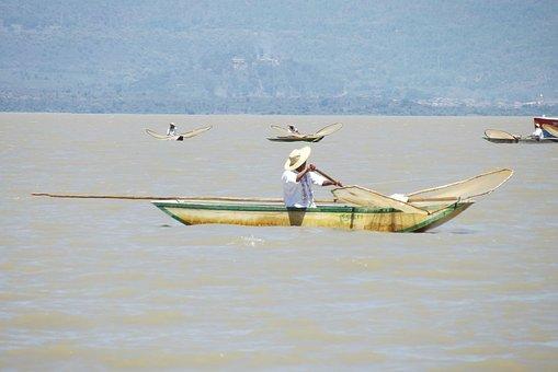Patzcuaro, Fisherman, Transport, Travel, Boat, Laguna