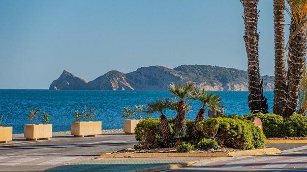 Road, Palm Trees, Coast, Sea, Cliff, Holiday, Sky