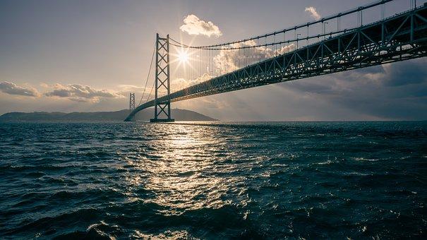Landscape, Sea, Sun, Bridge, Suspension Bridge