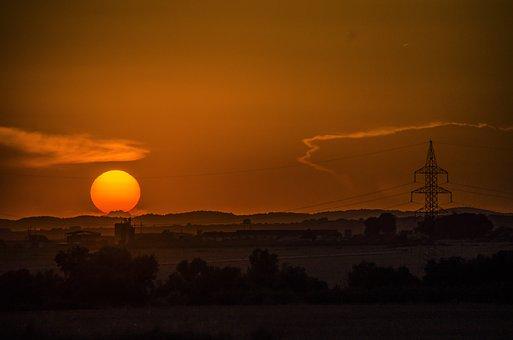 Sunset, Sun, Horizon, Sky, Silhouette, Dusk, Power