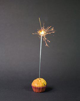 Cupcake, Sparkler, Food, Pastry, Snack, Dessert, Sweet