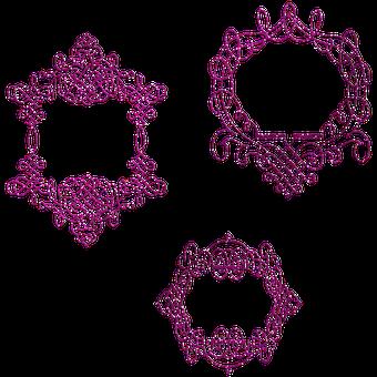 Glitter Purple Frame, Frame, Border, Corner, Floral