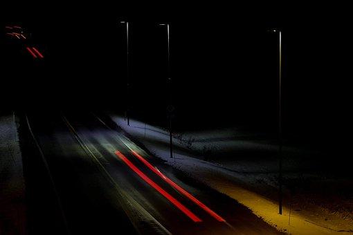 Street, Evening, Dark, Lights, Traffic