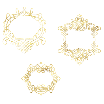 Gold Foil Frame, Frame, Border, Corner, Floral, Scroll