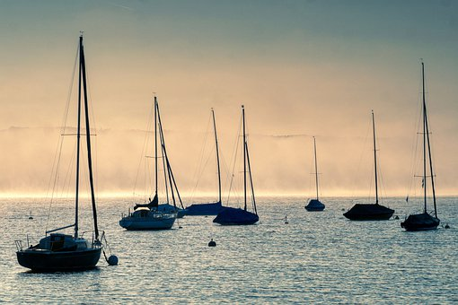 Lake, Boats, Silhouettes, Sail Boats, Anchored, Docked